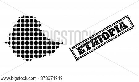 Halftone Map Of Ethiopia, And Scratched Seal Stamp. Halftone Map Of Ethiopia Generated With Small Bl