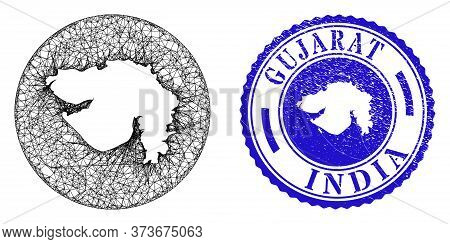 Mesh Stencil Round Gujarat State Map And Scratched Seal Stamp. Gujarat State Map Is Stencil In A Rou