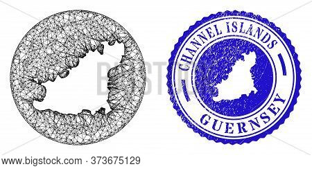 Mesh Inverted Round Guernsey Island Map And Scratched Seal. Guernsey Island Map Is Inverted In A Rou