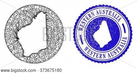Mesh Inverted Round Western Australia Map And Grunge Seal Stamp. Western Australia Map Is A Hole In