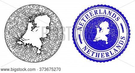 Mesh Hole Round Netherlands Map And Scratched Seal Stamp. Netherlands Map Is A Hole In A Circle Stam