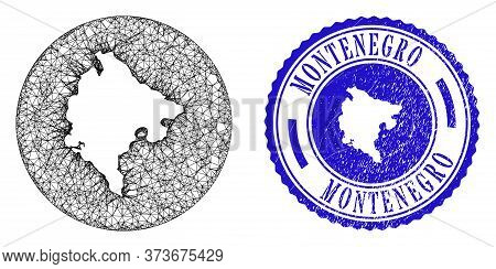 Mesh Stencil Round Montenegro Map And Grunge Seal Stamp. Montenegro Map Is Stencil In A Circle Stamp