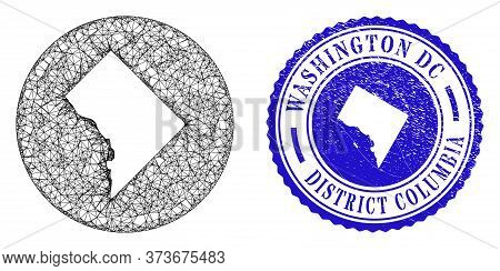 Mesh Inverted Round Washington District Columbia Map And Grunge Seal Stamp. Washington District Colu