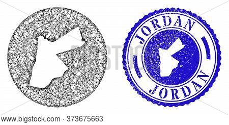 Mesh Inverted Round Jordan Map And Grunge Stamp. Jordan Map Is Cut Out From A Circle Stamp Seal. Web