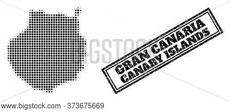 Halftone Map Of Gran Canaria, And Scratched Seal Stamp. Halftone Map Of Gran Canaria Generated With