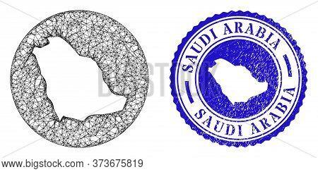 Mesh Inverted Round Saudi Arabia Map And Scratched Seal. Saudi Arabia Map Is Inverted In A Circle Se