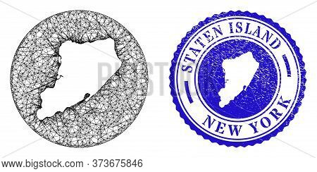 Mesh Hole Round Staten Island Map And Grunge Seal Stamp. Staten Island Map Is A Hole In A Circle Sea
