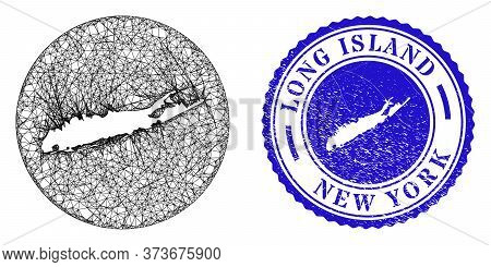 Mesh Subtracted Round Long Island Map And Scratched Seal Stamp. Long Island Map Is A Hole In A Circl
