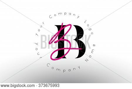Letters Bb Signature With Minimal Design. Simple Bb Icon With Circular Name Pattern. Creative Handwr