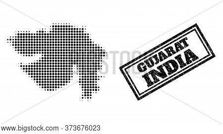 Halftone Map Of Gujarat State, And Grunge Seal Stamp. Halftone Map Of Gujarat State Generated With S