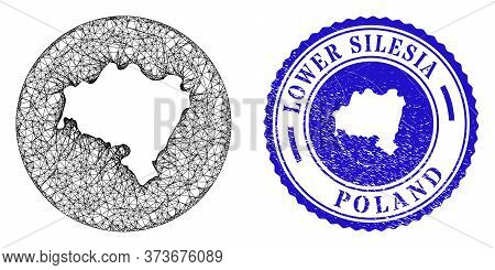Mesh Inverted Round Lower Silesian Voivodeship Map And Scratched Stamp. Lower Silesian Voivodeship M