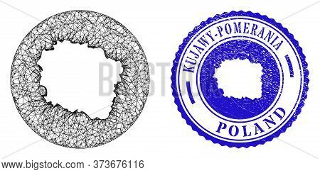 Mesh Subtracted Round Kujawy-pomerania Province Map And Grunge Seal. Kujawy-pomerania Province Map I