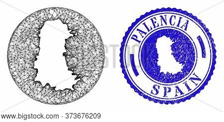 Mesh Hole Round Palencia Province Map And Scratched Seal Stamp. Palencia Province Map Is A Hole In A