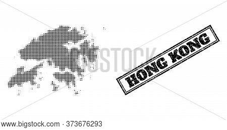 Halftone Map Of Hong Kong, And Unclean Watermark. Halftone Map Of Hong Kong Constructed With Small B