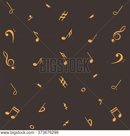 Music Notes Seamless Pattern. Musical Notation Background.