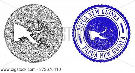 Mesh Subtracted Round Papua New Guinea Map And Scratched Stamp. Papua New Guinea Map Is Subtracted F