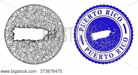 Mesh Stencil Round Puerto Rico Map And Grunge Seal Stamp. Puerto Rico Map Is A Hole In A Round Stamp