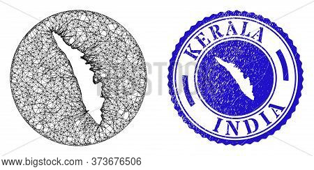 Mesh Subtracted Round Kerala State Map And Grunge Seal Stamp. Kerala State Map Is Inverted In A Roun