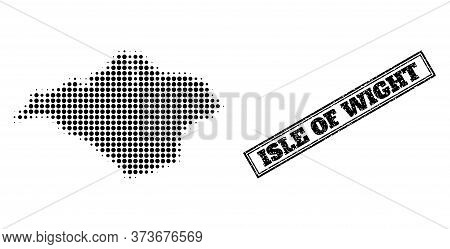 Halftone Map Of Isle Of Wight, And Unclean Watermark. Halftone Map Of Isle Of Wight Made With Small