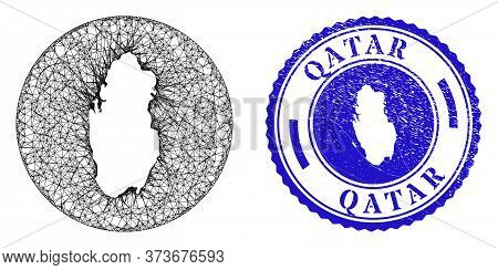 Mesh Subtracted Round Qatar Map And Scratched Seal Stamp. Qatar Map Is A Hole In A Round Stamp Seal.