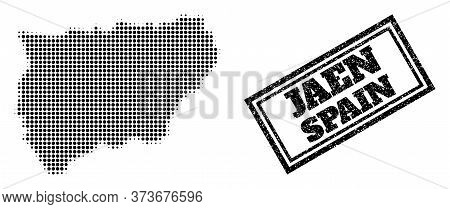 Halftone Map Of Jaen Spanish Province, And Unclean Seal. Halftone Map Of Jaen Spanish Province Made