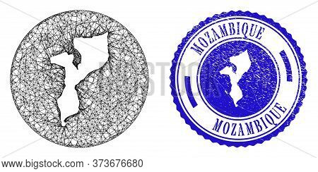Mesh Stencil Round Mozambique Map And Grunge Seal Stamp. Mozambique Map Is Stencil In A Circle Stamp