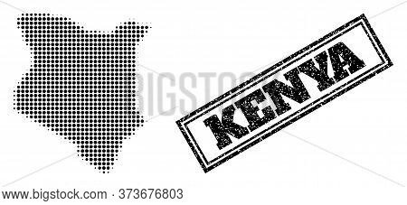 Halftone Map Of Kenya, And Scratched Seal. Halftone Map Of Kenya Made With Small Black Round Pixels.