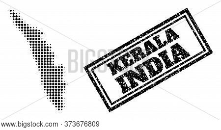 Halftone Map Of Kerala State, And Unclean Watermark. Halftone Map Of Kerala State Generated With Sma