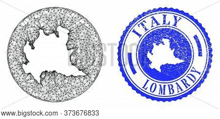 Mesh Subtracted Round Lombardy Region Map And Scratched Seal Stamp. Lombardy Region Map Is A Hole In