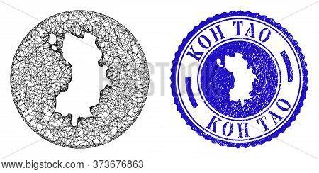Mesh Hole Round Koh Tao Map And Grunge Seal Stamp. Koh Tao Map Is A Hole In A Round Stamp Seal. Web