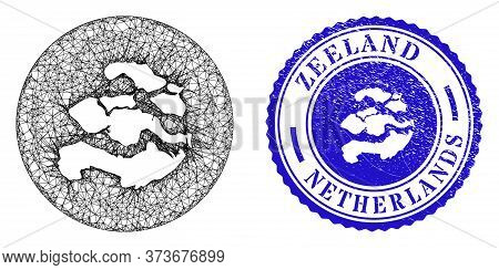 Mesh Stencil Round Zeeland Province Map And Scratched Seal Stamp. Zeeland Province Map Is A Hole In