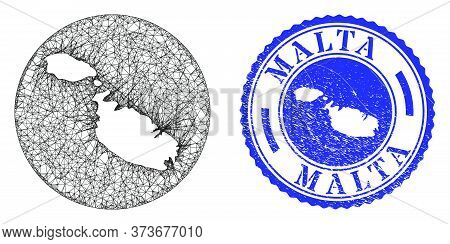 Mesh Hole Round Malta Map And Grunge Seal. Malta Map Is A Hole In A Round Stamp Seal. Web Carcass Ve