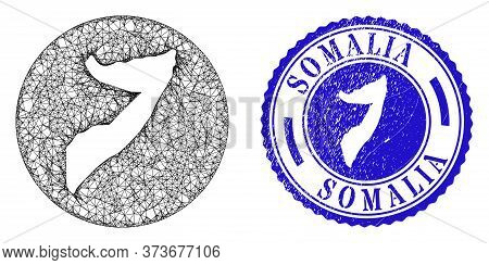 Mesh Stencil Round Somalia Map And Scratched Stamp. Somalia Map Is Stencil In A Circle Seal. Web Mes