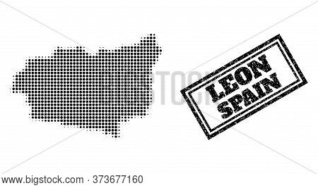 Halftone Map Of Leon Province, And Grunge Watermark. Halftone Map Of Leon Province Made With Small B