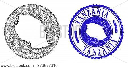Mesh Hole Round Tanzania Map And Scratched Seal Stamp. Tanzania Map Is A Hole In A Circle Seal. Web