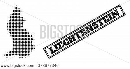 Halftone Map Of Liechtenstein, And Grunge Seal. Halftone Map Of Liechtenstein Made With Small Black
