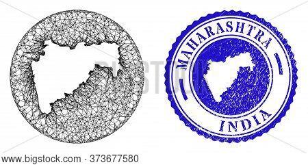 Mesh Subtracted Round Maharashtra State Map And Scratched Stamp. Maharashtra State Map Is Subtracted