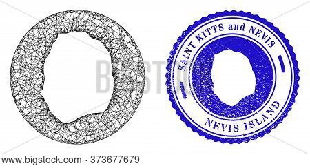 Mesh Hole Round Nevis Island Map And Grunge Seal Stamp. Nevis Island Map Is A Hole In A Circle Stamp