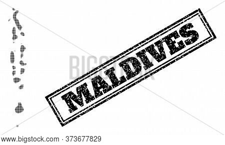 Halftone Map Of Maldives, And Scratched Seal. Halftone Map Of Maldives Generated With Small Black Ro