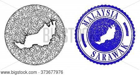 Mesh Subtracted Round Sarawak State Map And Grunge Seal Stamp. Sarawak State Map Is A Hole In A Roun