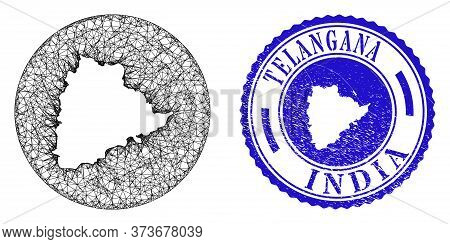 Mesh Inverted Round Telangana State Map And Grunge Stamp. Telangana State Map Is Cut Out From A Roun