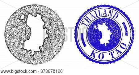 Mesh Stencil Round Ko Tao Map And Grunge Seal Stamp. Ko Tao Map Is Subtracted From A Round Stamp Sea