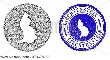 Mesh Inverted Round Liechtenstein Map And Scratched Seal. Liechtenstein Map Is A Hole In A Round Sta
