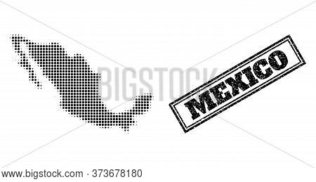 Halftone Map Of Mexico, And Unclean Watermark. Halftone Map Of Mexico Designed With Small Black Circ