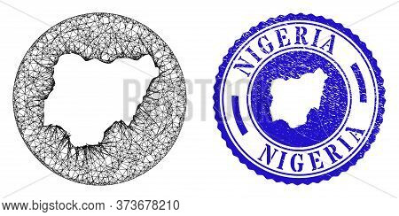 Mesh Subtracted Round Nigeria Map And Grunge Stamp. Nigeria Map Is A Hole In A Circle Stamp. Web Mes