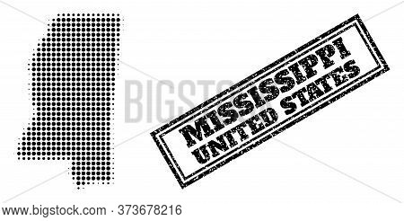 Halftone Map Of Mississippi State, And Grunge Seal. Halftone Map Of Mississippi State Generated With
