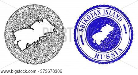 Mesh Subtracted Round Shikotan Island Map And Grunge Seal Stamp. Shikotan Island Map Is Carved In A