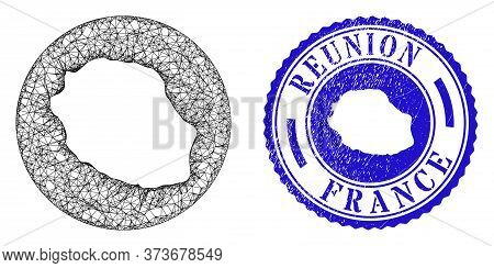 Mesh Inverted Round Reunion Island Map And Grunge Seal. Reunion Island Map Is Inverted In A Circle S