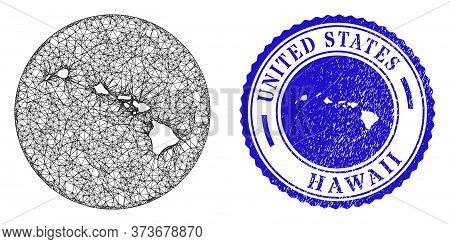 Mesh Inverted Round Hawaii State Map And Scratched Stamp. Hawaii State Map Is Inverted In A Round St