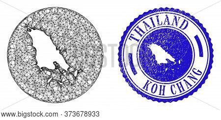 Mesh Hole Round Koh Chang Map And Scratched Stamp. Koh Chang Map Is A Hole In A Circle Seal. Web Mes